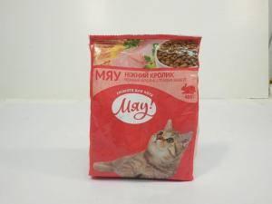 Сухой корм для взрослых котов  Мяу нежный кролик
