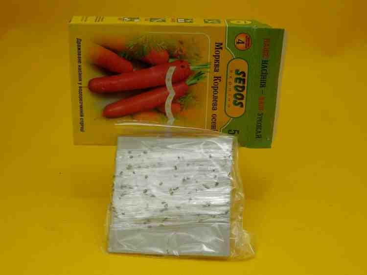 Семена моркови сорта Королева осени дражированные на водорастворимой ленте