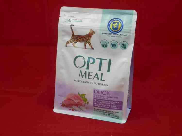 OptiMeal duck, сухой корм для взрослых кошек с эффектом выведения шерсти с уткой