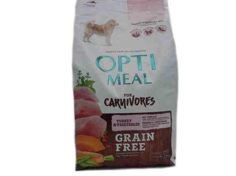Беззерновой корм для взрослых собак всех пород ОптиМил OptiMeal с индейкой и овощами