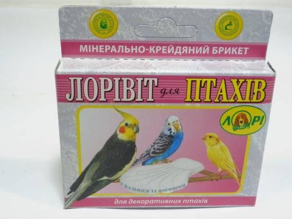 Минерально меловой брикет Лоривит для птиц с кальцием и фосфором