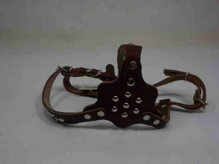 Шлея для мопса фасонная кожаная с фурнитурой