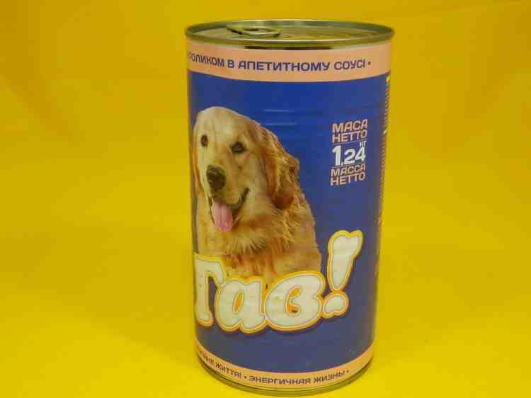 Консервы для собак Гав с кроликом в аппетитном соусе