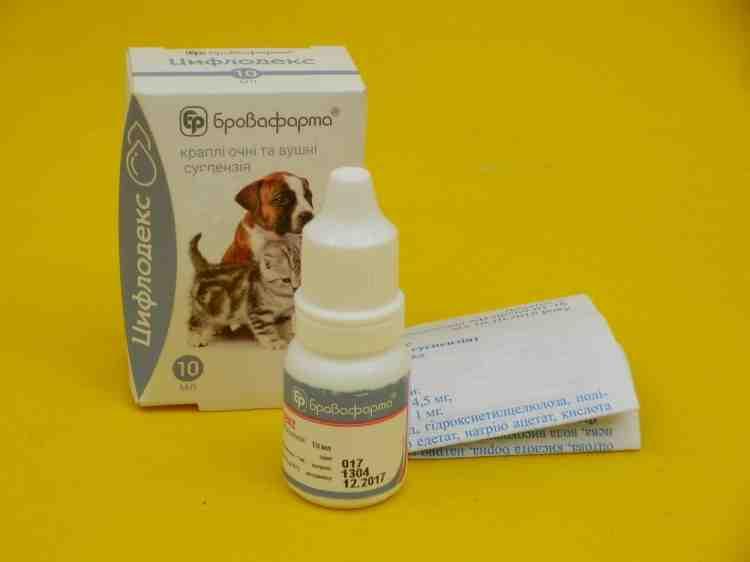 Цифлодекс глазные и ушные капли для кошек и собак