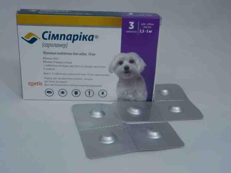 Симпарика,таблетки от клещей дя собак