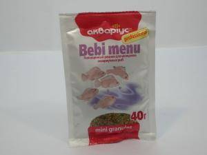 Аквариус - беби меню, для молодняка аквариумных рыб, гранулы - 40 г