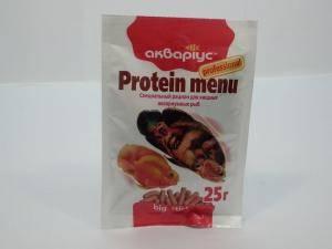 Аквариус  Protein Menu - корм для хищных аквариумных рыб, крупные палочки - 25 г