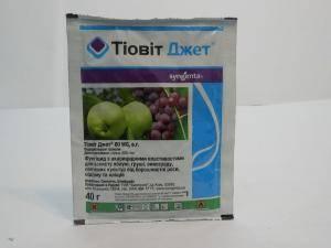 Тиовит Джет, препарат для защиты яблонь, груш, винограда и овощных культур от мучнистой росы, оидиуму и клещей, 1 пакетик - 40 г