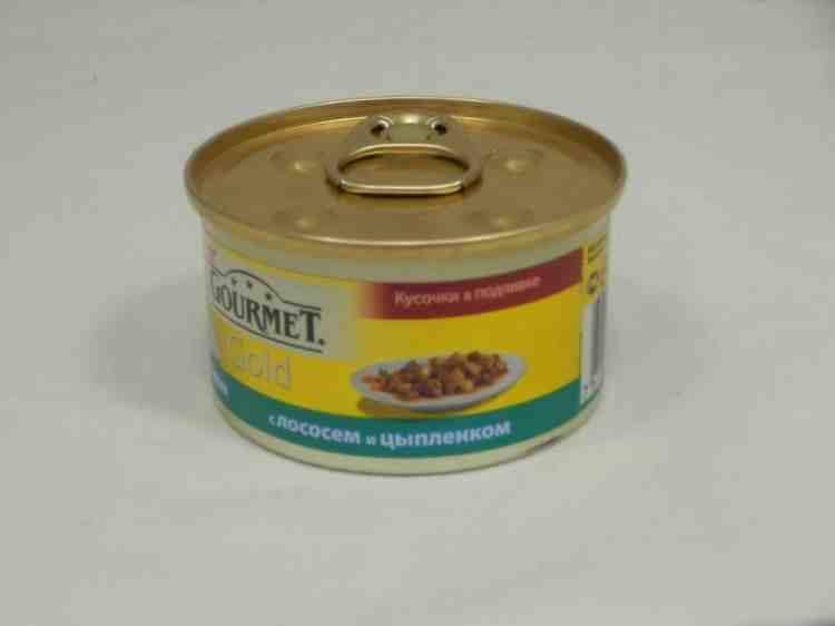 Gourmet Gold (Гурмет Голд) консервы для кошек кусочки в подливке с лососем и цыпленком