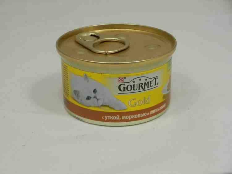 """Gourmet Gold (Гурмет Голд) консервы для кошек Кусочки в паштете """"Террин по-французски"""" с уткой, морковью и шпинатом"""