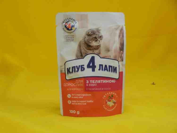 Влажный корм для кошек Клуб 4 Лапы (пауч) \