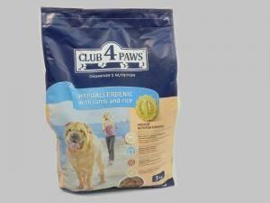 Сухой корм Клуб 4 Лапы для собак гипоаллергенный с ягненком и рисом 3 кг